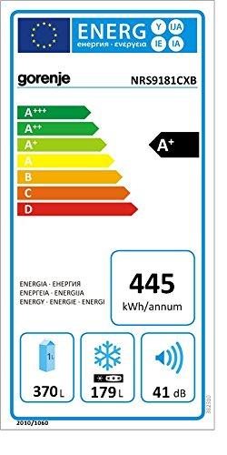 Gorenje NRS9181CXB Side by Side / A+ / / 184 cm / 445 kWh/Jahr / 370 L Kühlteil / 179 L Gefrierteil / Abtau-Vollautomatik NoFrost / Fresh-Zone-Schublade / Multiflow-Kühlsystem mit Quick Cooling Funktion / Inox Finger touch - 2