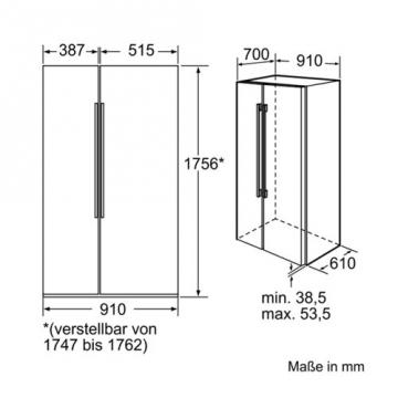 Bosch KAN62A75 Side by Side / A++ / Kühlen: 385 L  / Gefrieren: 219 L / 0 - 5