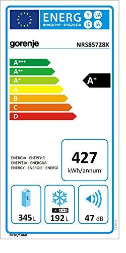 Gorenje NRS85728X Side by Side / A+ / Kühlteil: 349 L / Gefrierteil: 192 L / Inox Finger Touch Free / Quick Cooling Funktion / LCD Display zweizeilig / Abtau-Vollautomatik NoFrost / - 2
