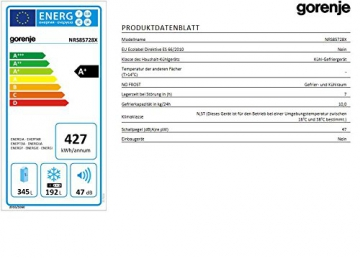 Gorenje NRS85728X Side by Side / A+ / Kühlteil: 349 L / Gefrierteil: 192 L / Inox Finger Touch Free / Quick Cooling Funktion / LCD Display zweizeilig / Abtau-Vollautomatik NoFrost / - 3