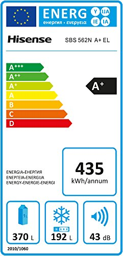Hisense SBSN A+ EL Side-by-Side / A+ / 176,6 cm Höhe / 458 kWh/Jahr / 370 L Kühlteil / 192 L Gefrierteil / TouchControl Bedienfläche / Edelstahl-Look - 2