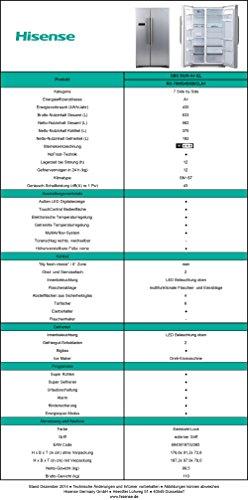 Hisense SBSN A+ EL Side-by-Side / A+ / 176,6 cm Höhe / 458 kWh/Jahr / 370 L Kühlteil / 192 L Gefrierteil / TouchControl Bedienfläche / Edelstahl-Look - 3