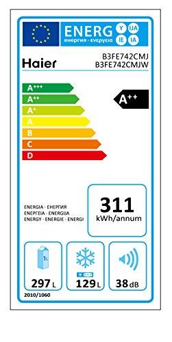 Haier B3FE742CMJW Kühl-Gefrier-Kombination / A++ / 190.0 cm Höhe / 311 kWh/Jahr / 270.0Liter Kühlteil / 153.0Liter Gefrierteil / My Zone Fach / ABT-System /  / -