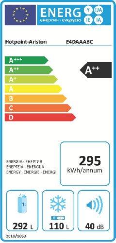 Hotpoint E4D AAA B C Side-by-Side / A++ / 195,5 cm Höhe / 295 kWh/Jahr / 292 L Kühlteil / 110 L Gefrierteil / No Frost / nur 0,808 kWh/24 Stunden / schwarz -